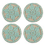 Beaded Jute Coasters in Aqua (Set of 4)