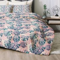 Deny Designs Pinky Palms Queen Comforter Set in Blue