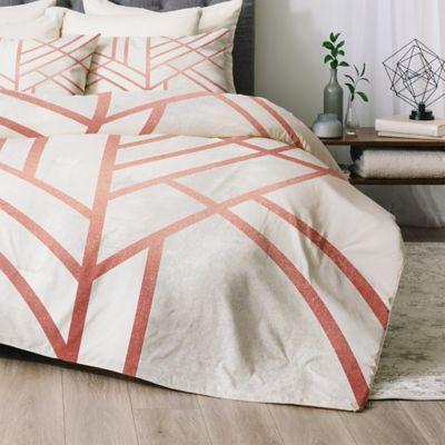 Deny Designs Art Deco Queen Comforter Set In Rose Gold