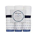 Hello Spud 3-Pack Diagonal Pintuck Organic Cotton Washcloths in Blue