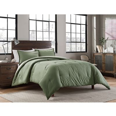 Garment Washed Solid King Comforter Set In Olive