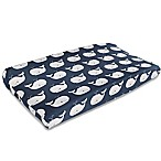 Liz and Roo Nautical Whales Contoured Changing Pad Cover in Navy