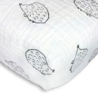 Swaddle Designs® Hedgehog Muslin Fitted Crib Sheet Black/White