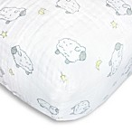 Swaddle Designs® Little Lambs Muslin Fitted Crib Sheet in Sterling