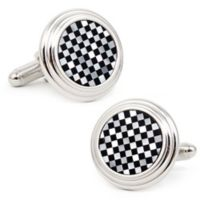 Ox & Bull Trading Co. Silver-Plated Onyx and Mother of Pearl Checker Step Cufflinks