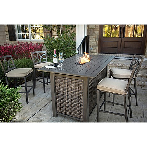 Agio Davenport 5-Piece Outdoor Bar Height Fire Pit Set - Bed Bath ...