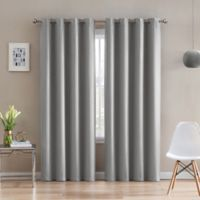 Morse Code 63-Inch Grommet Top Window Curtain Panel in Grey