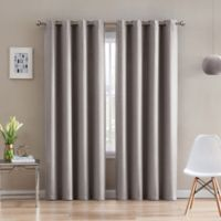 Morse Code 108-Inch Grommet Top Window Curtain Panel in Sand