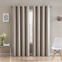 Morse Code 108-Inch Grommet Top Window Curtain Panel in Taupe