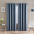Morse Code 84-Inch Grommet Top Window Curtain Panel in Denim