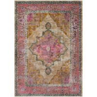Surya Milamma Floral Border Medallion 2-Foot x 3-Foot Accent Rug in Camel