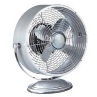 Deco Breeze® Retro Swivel 2-Speed Table Fan in Silver Metallic