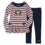 Juicy Couture® Size 3-6M 2-Piece Long Sleeve Juicy Crest Striped Top and Legging Set