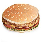 Wow Work Hamburger Throw Pillow in Tan/Yellow