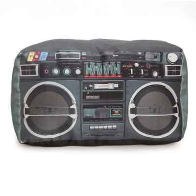 Wow Works Retro Boombox Throw Pillow in Black/Silver