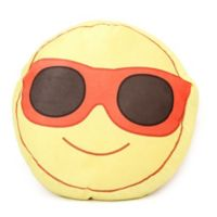 Wow Works Mr. Cool Emoji Throw Pillow in Yellow