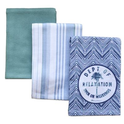 Tommy Bahama Palm Tree Kitchen Towels Set Of 3