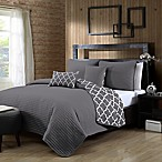 Avondale Manor Griffin Reversible Queen Quilt Set in Grey