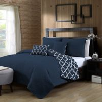 Avondale Manor Griffin Reversible King Quilt Set in Navy