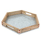 Thirstystone® Mango Wood and Galvanized Iron Hexagon Tray