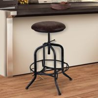 Armen Living Elena Adjustable Industrial Bar Stool in Brown