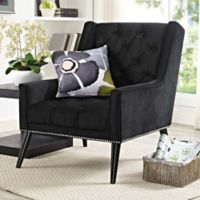 Modway Peruse Velvet Armchair in Black