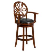 Flash Furniture 30-Inch Wood Bar Stool with Arms in Black/Brown