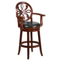 Flash Furniture 30-Inch Wood Bar Stool with Arms in Black/Cherry