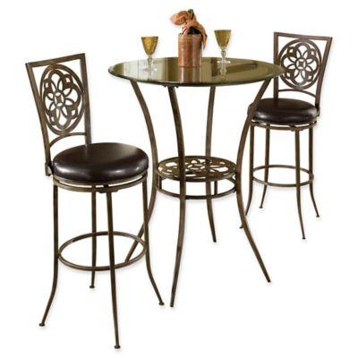 Hillsdale Marsala 3 Piece Bar Height Bistro Dining Set In Grey