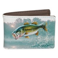 Buxton® Wildlife First of the Day Bass Slimfold Wallet in Grey