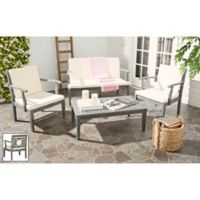 Safavieh Montclair 4-Piece Conversation Set in Ash Grey/Beige