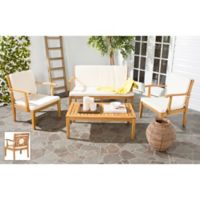 Safavieh Montclair 4-Piece Outdoor Conversation Dining Set in Teak Brown/Beige