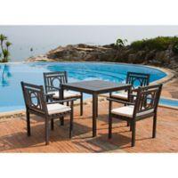 Safavieh Montclair 5-Piece Outdoor Dining Set in Ash Grey/Beige