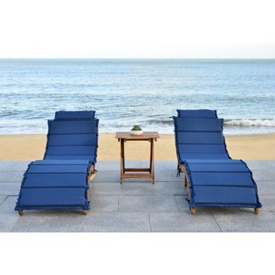 safavieh pacifica 3piece outdoor lounge set in teak brownnavy