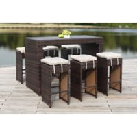 Safavieh Sanders 7-Piece All-Weather Rattan Outdoor Bar Set in Brown/Sand