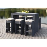 Safavieh Sanders 7-Piece All-Weather Rattan Outdoor Bar Set in Titanium/Sand