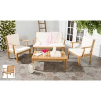 Safavieh Fresno 4-Piece Outdoor Seating Set in Teak Brown