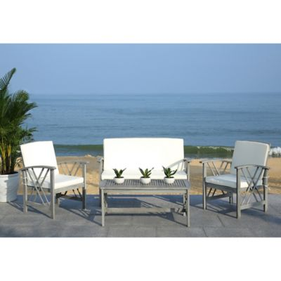 Safavieh Fontana 4 Piece Patio Furniture Set In Grey Wash/Beige