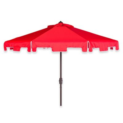 Safavieh Zimmerman 9 Foot Crank Patio Umbrella In Red/White