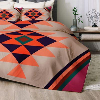 deny designs wesley bird desert sunrise queen comforter set in orange