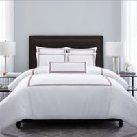 Wamsutta® Hotel Triple Baratta Stitch Full/Queen Duvet Set in White/Red