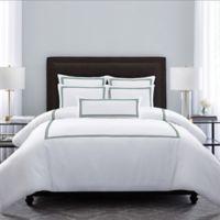 Wamsutta® Hotel Triple Baratta Stitch King Duvet Set in White/Forest