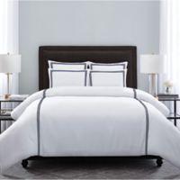 Wamsutta® Hotel Triple Baratta Stitch Full/Queen Duvet Set in White/Navy