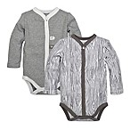Burt's Bees Baby® Size 6M 2-Pack Woodgrain Bodysuits in Grey