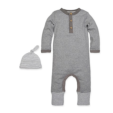 Burt S Bees Baby 2 Piece Henley Coverall And Hat Set In Grey