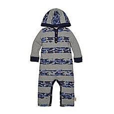 Burt's Bee's Baby® Camo Stripe Hooded Coverall in Navy