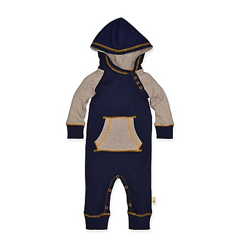Burts Bee's Baby® Colorblock Raglan Coverall in Navy/Khaki