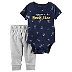 carter's® Size 12M 2-Piece  Daddy's Rock Star  Bodysuit and Pant Set in Navy