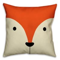Designs Direct Fox Face Friend 16-Inch Square Throw Pillow in Orange