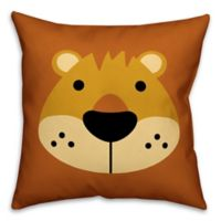 Designs Direct Lion Face Friend 16-Inch Square Throw Pillow in Brown